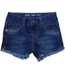 bermuda garota lua jeans shorts manabana menina azul