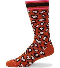 paul smith men's leopard-print crew socks - red