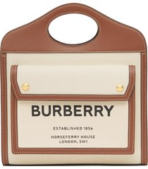 burberry mini two-tone canvas & leather pocket bag - brown