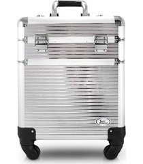 maleta profissional 2 andares com rodinhas de 360º aluminio jacki design beauty prata - kanui