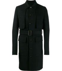 rick owens belted panelled coat - black