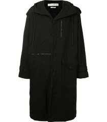isabel benenato drawstring hooded parka coat - black