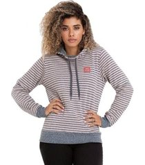 moletom element stripe navy pret canguru feminino