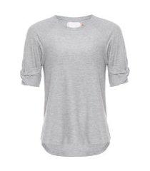 t-shirt manga drapeada - cinza