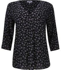 blusa mujer print hojas loto color negro, talla s