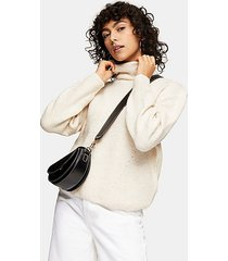 camel roll knitted sweater - camel