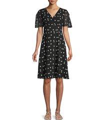 daisy-print fit-&-flare dress