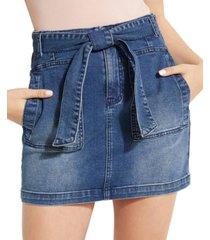 guess belted denim mini skirt