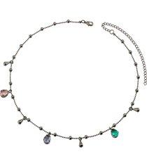 colar dona diva semi joias curto pedras fusion ouro negro