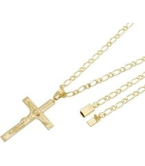 pingente crucifixo com corrente italiana gaveta tudo joias folheado a ouro 18k