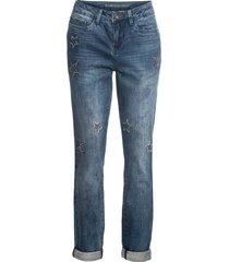 jeans boyfriend con stelle ricamate (blu) - rainbow