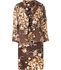 dolce & gabbana pre-owned 2000's floral three-piece skirt suit - brown