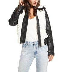 women's blanknyc faux leather & fleece bomber jacket