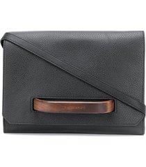 calicanto wooden handle leather crossbody bag - black