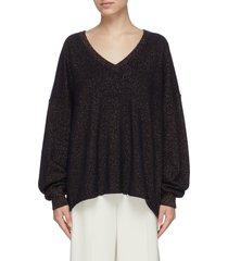 v neck metallic cashmere sweater