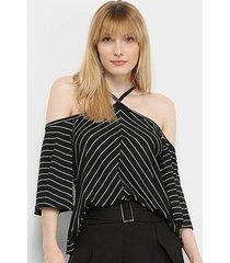 blusa mercatto listrada ombro a ombro tiras pescoço feminina