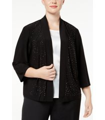 r & m richards plus size cardigan, beaded open front