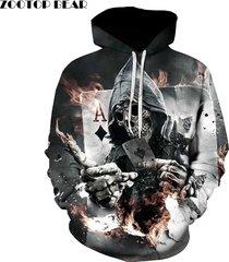 skull poker hoodies sweatshirts men women 3d pullover funny rock tracksuit s-6xl