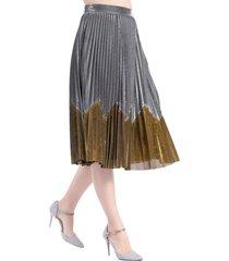 falda plisada metalizada bicolor gris nicopoly