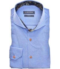 ledub overhemd blauw stretch modern fit