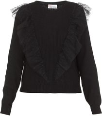 red valentino tulle point d esprit sweater