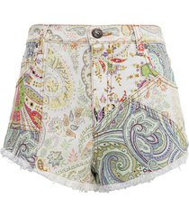 etro multicolor paisley denim shorts
