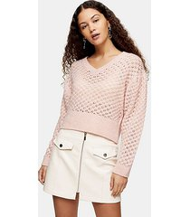 pink honeycomb knitted sweater - pink