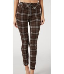 calzedonia tartan leggings with zip woman brown size s