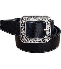 cinturón cuero negro hebilla hojas mf cueros