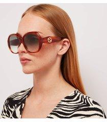 gucci women's round acetate sunglasses - gold/brown