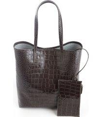 croc-embossed tall tote bag & wristlet