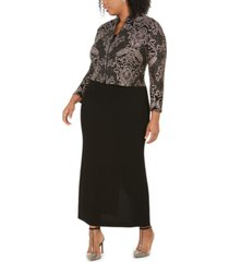 alex evenings plus size column gown & jacket