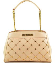 love moschino peach pink chain handles studded tote bag