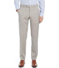men's zanella men's flat front wool trousers, size 32 - grey