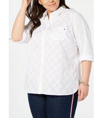 tommy hilfiger plus size diamond burnout utility shirt