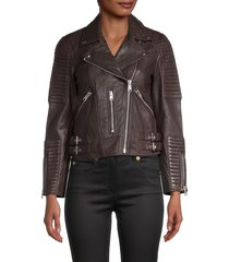 allsaints women's estella leather biker jacket - bordeaux - size 2