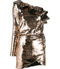 amen sequin flounce cocktail dress - gold