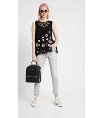 crochet and mandalas blouse - black - xxl