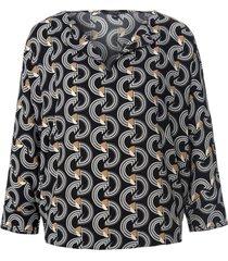 blouse 3/4-mouwen en grafische print van comma, zwart