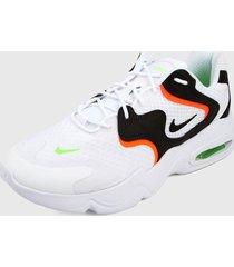 tenis lifestyle blanco-negro-naranja nike air max 2x