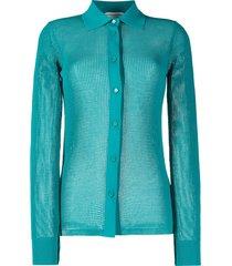 bottega veneta mesh sheer shirt - blue