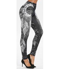 feather print high waist skinny leggings