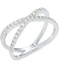 14k white gold & diamond criss cross ring