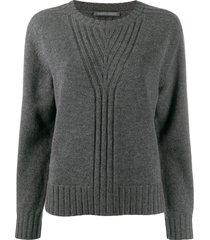 alberta ferretti ribbed knit detail sweater - grey