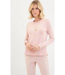 blusa le lis blanc jasmin crew neck sweater tricot rosa feminina (blush, gg)