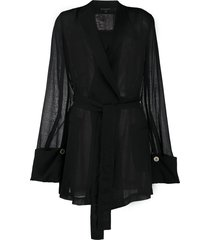 ann demeulemeester belted tunic top - black