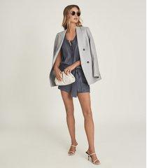 reiss murphy - linen blend playsuit in navy, womens, size 12