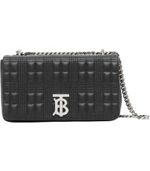 burberry small lola quilted check leather shoulder bag - black