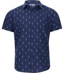 camisa estampada loros color azul, talla xs