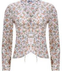 blusa con recogido en frente color blanco, talla 8